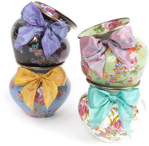 MacKenzie-Childs Black Flower Market Mini Vase