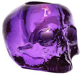 """Kosta Boda Purple """"Still Life"""" Skull Candleholder"""