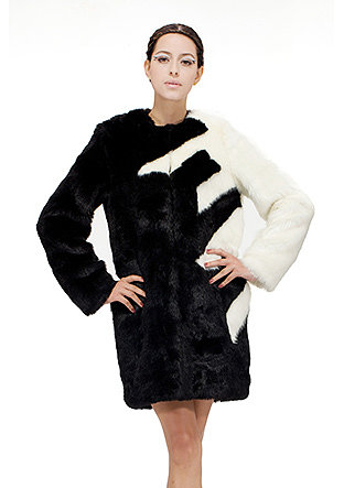faux black and white mink fur coat
