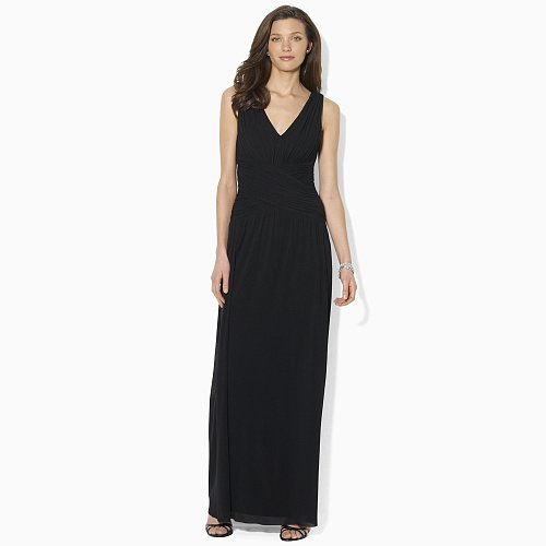 Ralph Lauren Shirred Sleeveless Gown