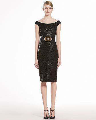 Gucci Lacquered Lace Shift Dress, Black