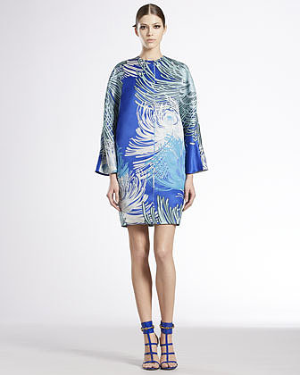 Gucci Dahlia Printed Silk Georgette Tunic Dress