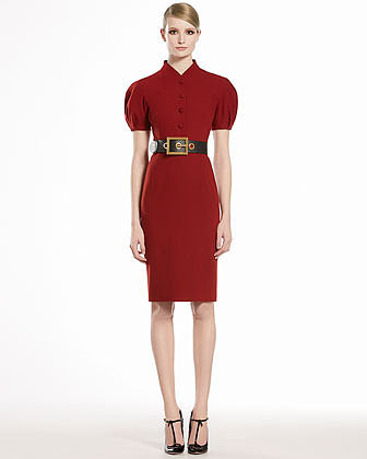 GUCCI Wool Dress with Puff Sleeves