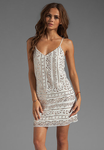 Dolce Vita Tibi Sequins Mini Dress in White/Copper