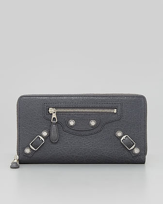 Balenciaga Giant Nickel Continental Zip Wallet, Gris Tarmac