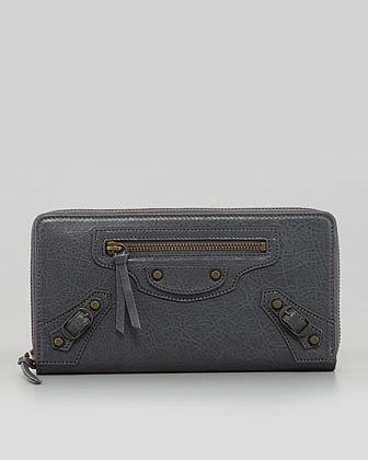 Balenciaga Classic Continental Zip Wallet, Gris Tarmac
