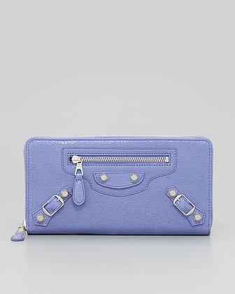 Balenciaga Giant Nickel Continental Zip Wallet, Mauve