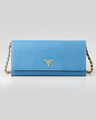 Prada Saffiano Wallet on a Chain, Blue