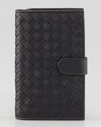 Bottega Veneta Woven Continental Fold Wallet, Black