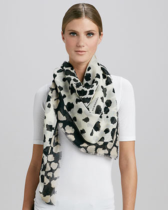 Burberry Animal-Print Square Scarf, Natural/White
