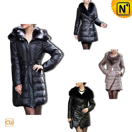 Designer Women Leather Down Coat CW148420 - cwmalls.com
