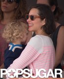 Marion Cotillard cuddled her son, Marcel, at the Monaco Jumping Show.