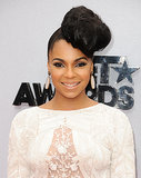 Oversize topknots were taken to a new level with Ashanti's askew updo on the BET Awards red carpet.