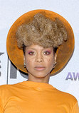 Drawn-in freckles, pink eye shadow, and a blond Afro made Erykah Badu's appearance far from dull.