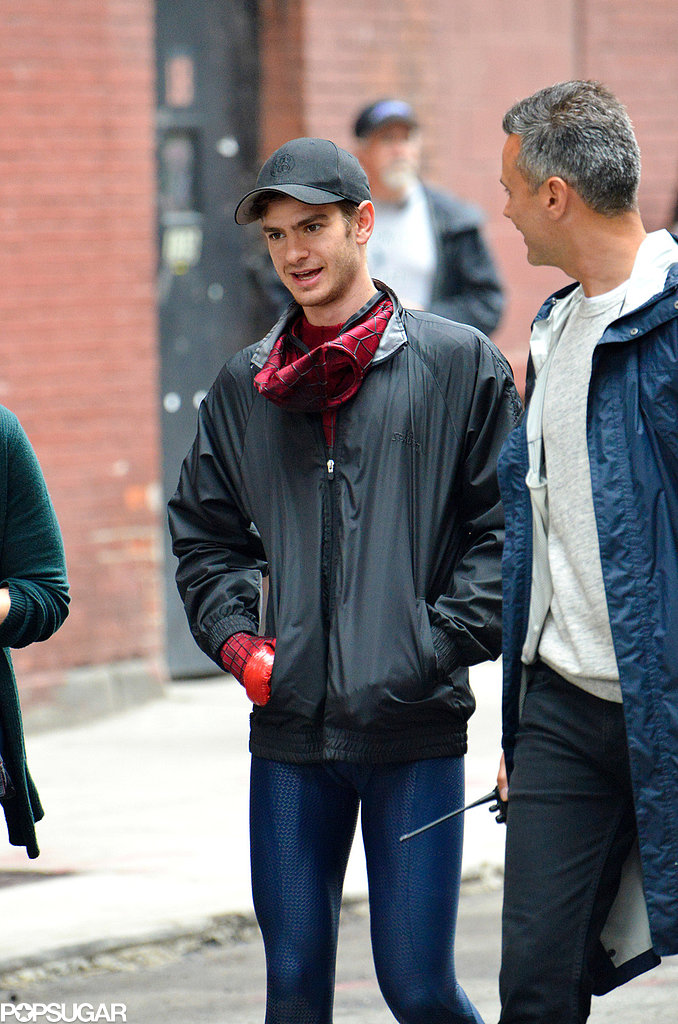 Andrew Garfield traded his Spider-Man mask for a hat on set in NYC.