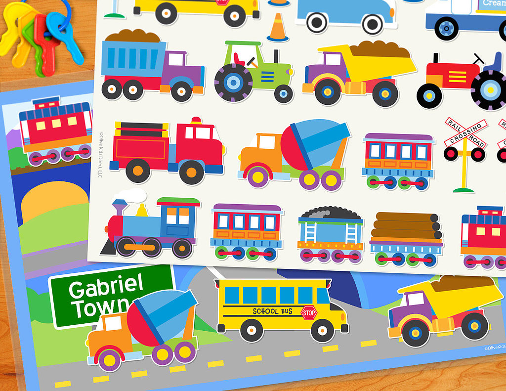 Olive Kids' Presonalized Transportation Play Mat ($18) is laminated in sturdy vinyl and comes with a set of static cling decals for interactive fun. It's available in several different themes and comes personalized with your tot's name.