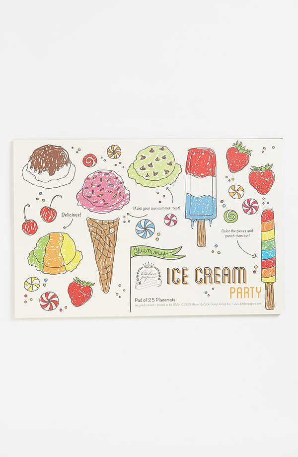 Turn even the most ordinary of dinners into an Ice Cream Party ($28) with Kitchen Papers by Cake's pad of 25 placemats prime for coloring and punching out.