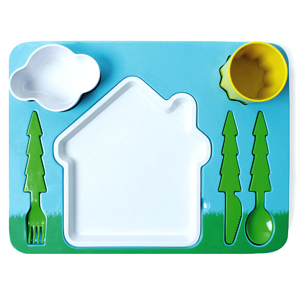 DOIY's Landscape Dinner Set ($48) features all-in-one melamine fun — the utensils, cup, plate, and bowl are all part of a sweet, kid-friendly scene.
