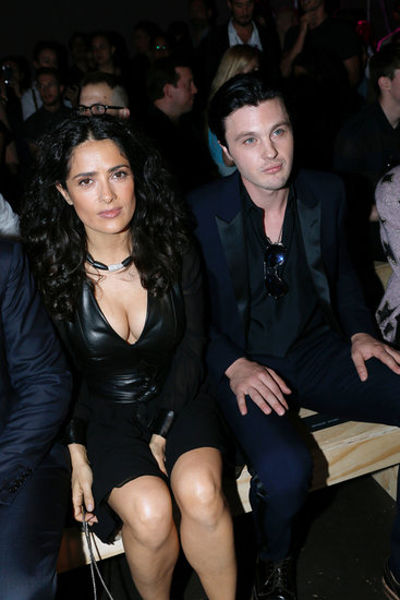 Salma Hayek took a front row seat next to Michael Pitt at the Yves Saint Laurent show at Paris Haute Couture on Sunday.