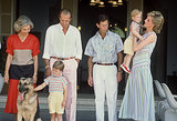 In August 1986, Princess Diana sported stripes in Palma de Mallorca, Spain, along with her sons.