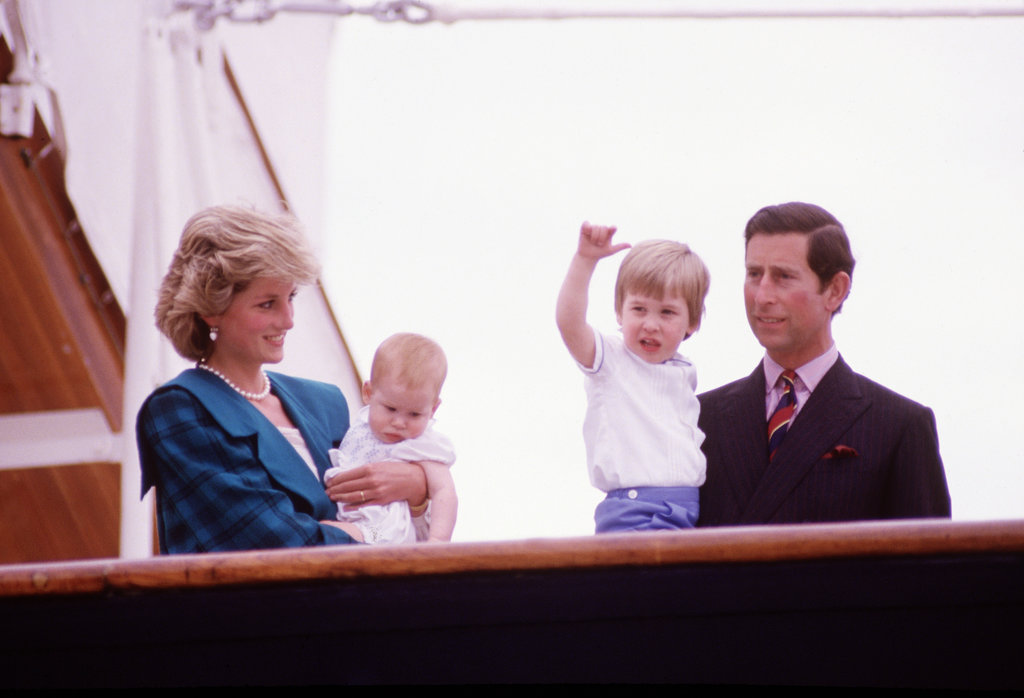 In May 1985, Princess Diana smiled as she and Prince Charles held Prince William and Prince Harry on a yacht in Venice, Italy.
