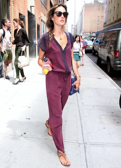 Alessandra Ambrosio rocked a colorblock jumpsuit by Gypsy05 with a blue bag while out in NYC.