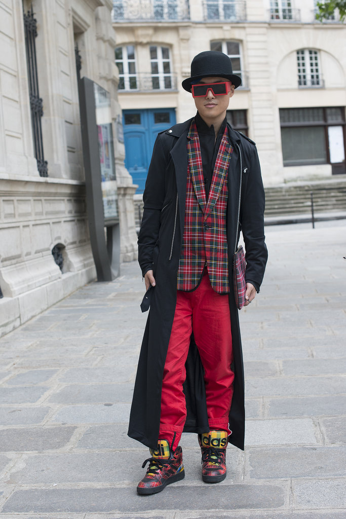 Wear whatever you love — even if that means combining firetruck red pants with a tartan blazer and serious sneaks.