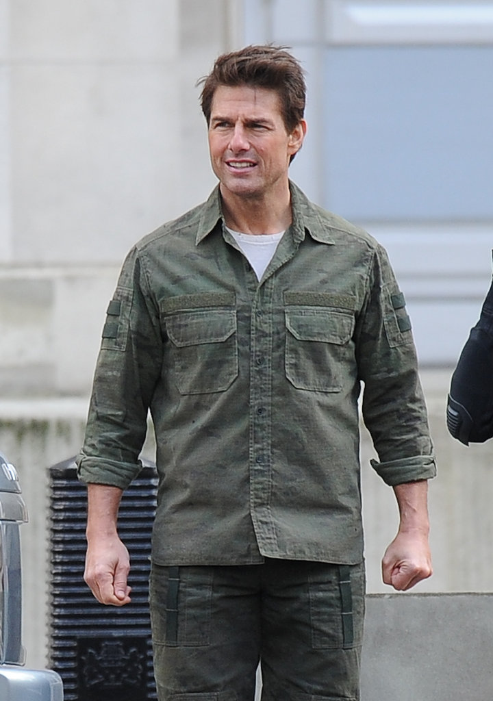 Tom Cruise hit the London set of All You Need Is Kill in February 2013.