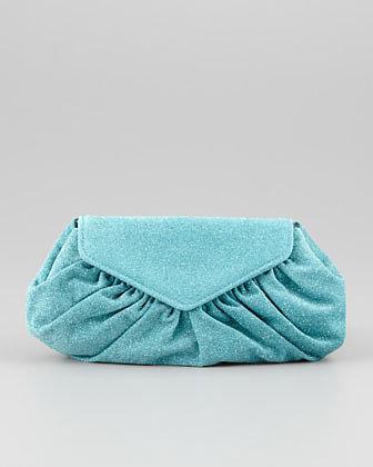 Lauren Merkin Diana Glittered Clutch Bag, Turquoise