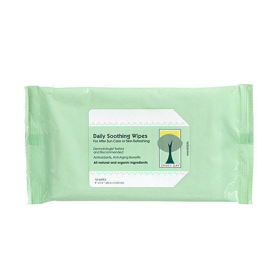 Perfect for travel, the Shady Day Daily Soothing Wipes for After Sun Care ($8) are perfect for face and body. The moistened wipes are full of skin goodness, including vitamins A, C, and E, aloe vera, green tea, and cucumber extracts for moisture, relief, and instant coolness.