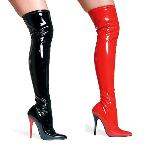 Ellie Shoes E-609-FANTASY, 6 Inch Pointed Stiletto Heel Thigh High Stretch Boots-Satin-Boutique.com