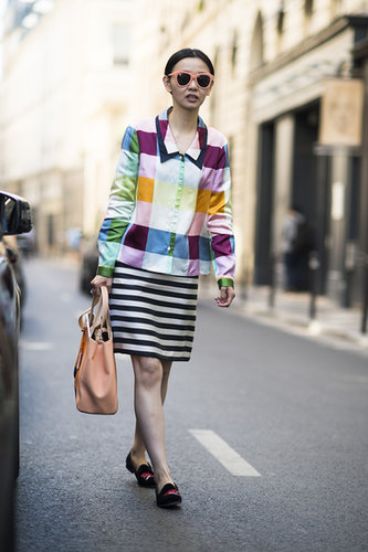 Who says stripes and checks don't go together? Not this trendsetting showgoer. Source: Le 21ème | Adam Katz Sinding