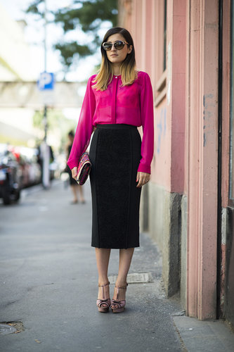 How to liven up your pencil skirt? With a bright button-down, of course. Source: Le 21ème | Adam Katz Sinding