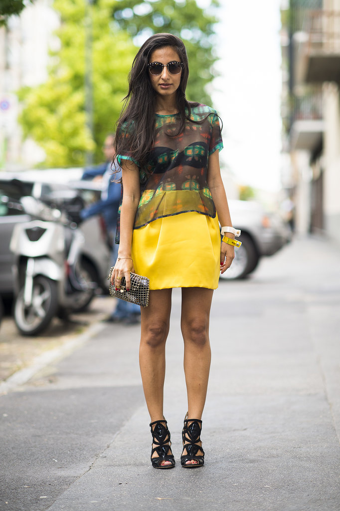 A pop of color gave this sexier semisheer top a bright counterpart. Source: Le 21ème | Adam Katz Sinding
