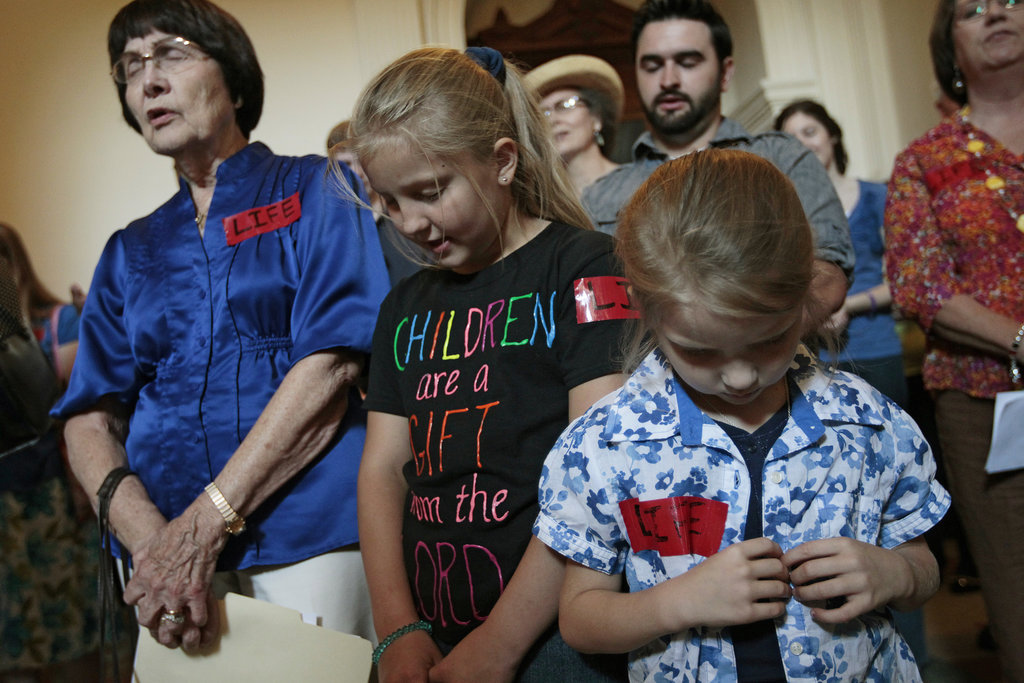 Pro-life supporters prayed inside the building on July 1.