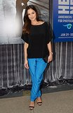 Minka Kelly's blue silk trousers majorly amped up her black pieces in LA.