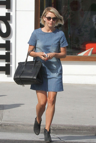 A denim dress — like the short-sleeved one Julianne Hough sported with gray booties — is a great way to look laid-back and dressy at the same time.