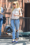 Do like Sienna Miller and give your boyfriend denim a girlie edge with a pretty lace top and dainty pumps.