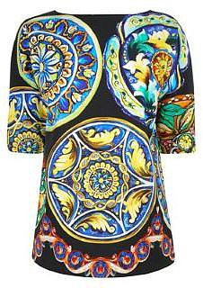 Dolce And Gabbana DOLCE AND GABBANA Plate Print Short Sleeve Top