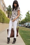 Ashley Madekwe's Madewell tee found a fashionable companion in her white Paige Denim and Isabel Marant boots.   Source: Ring My Bell