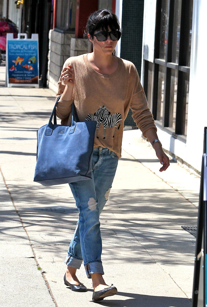 Selma Blair's Madewell zebra sweater was a sweet addition to her distressed boyfriend denim.