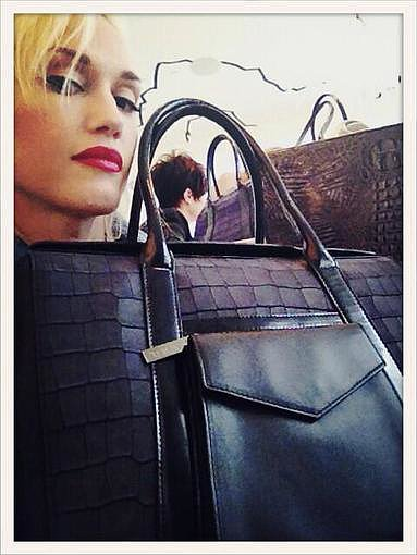 Gwen Stefani showed off one her new handbag designs. Source: Twitter user gwenstefani
