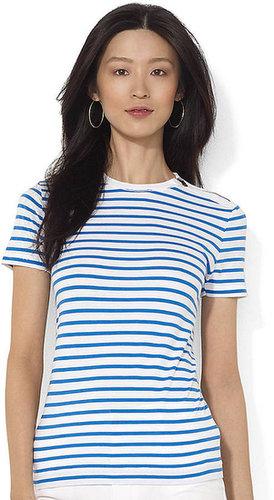 LAUREN JEANS CO. Zippered Striped Crewneck T-Shirt