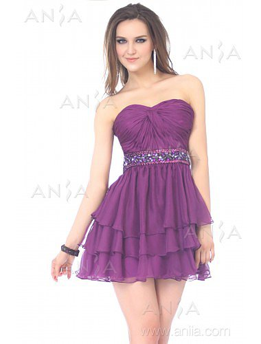 A Line Grape Sweetheart Chiffon Party Dress E22419