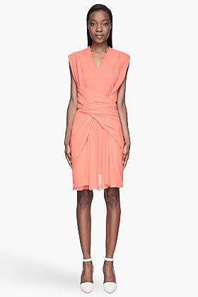 SEE BY CHLOE Coral pink semi-sheer Wrap Around Dress