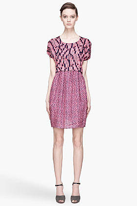 SEE BY CHLOE Pink and navy blue Granit Print Crew Neck Mini Dress