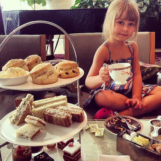 Stella McDermott had high tea with her mama, Tori Spelling. Source: Instagram user torianddean