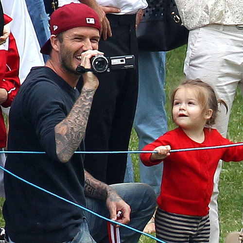 David and Victoria Beckham at Kids' Soccer Game