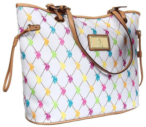U.S. Polo Assn - Revival Large Tote (White Multi) - Bags and Luggage
