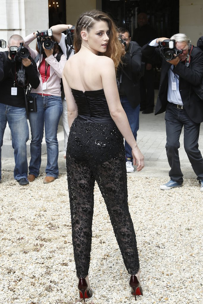 Kristen Stewart wore braids in her hair for the Zuhair Murad Paris Haute Couture show.